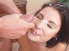 Raven haired Valerie Herrera facialized after getting her throat stuffed with man meat